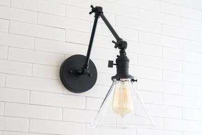 Swing Arm Sconce - Modern Farmhouse - Edison Wall Light - Glass Shade - Adjustable Sconce - Indoor Wall Light - Model No. 7486