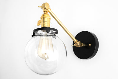Modern Farmhouse - Globe Sconce - Wall Lighting - Light Fixture - Brass Sconce - Black Sconce - Farmhouse Lighting - Model No. 7217