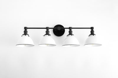 Four Light Vanity - Light Vanity - White Shade Vanity - Farmhouse Vanity - Bathroom Lighting - Industrial Lighting - Model No. 5355