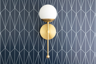 Globe Sconce - Brushed Nickel - Opal Globe - Globe Wall Light - Wall Sconces - Hallway Light - Brushed Chrome - Model No. 7591