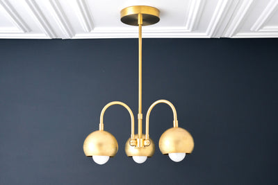 Brass Light Fixture - Brass Ball Light - Bare Bulb Fixture - Light Fixture - Art Deco Chandelier - Modern Chandelier - Model No. 4051