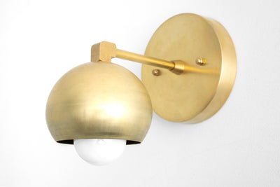 Modern Ball Sconce - Midcentury Modern - Wall Light Fixture - Raw Brass Light - Wall Sconce - Model No. 0053