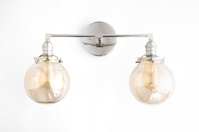 Bathroom Light Fixture - Vanity Lamp - Brass Vanity - Smoked Glass - Globe Light - Mid Century Modern Style - Model No. 4270