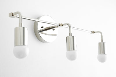 Mid Century Modern - 3 Bulb Vanity Light - Minimalist Vanity - Light Fixture - Bathroom Lighting - Wall Light - Model No. 6866