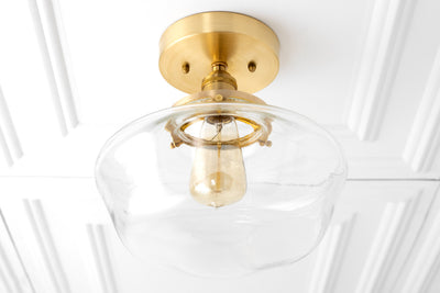 Schoolhouse Lighting - Modern Ceiling Lamp - Schoolhouse Fixture - Brass Light - Hardwired Lights - Model No. 7429