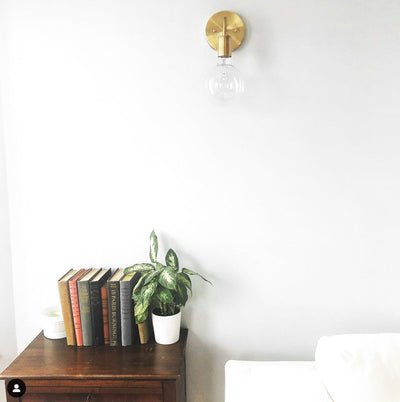 Brass Wall Sconce - Globe Sconce -  Minimal Sconce Light - Gold Wall Lamp - Raw Brass Fixture - Model No. 3655