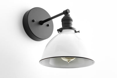 Industrial Wall Sconce - Bathroom Lighting  -  White Metal Shade Lamp - Vanity Wall Lights - Industrial Chic - Model No. 7026