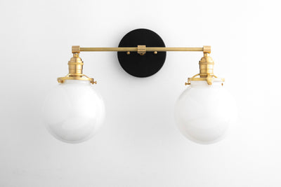 Bathroom Lighting - Bathroom Vanity Light - Modern Vanity Fixture - Brass Vanity Light -  Globe Lights - Opal Glass - Model No. 8207