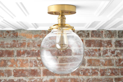 Large Globe Light - Flush Mount Light - Hardwired Light - Mid Century Modern - Edison Bulb - 8 inch Clear Globe - Model No. 6365