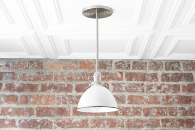 White Pendant Light - Farmhouse Lighting - Mid Century Lighting - Industrial Lighting - Kitchen Island - Island Light - Model No. 8808