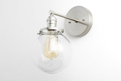 Globe Sconce - Bathroom Light  -  Edison Wall Light - Brass Fixture - Sconce Wall Lamp - Model No. 5456