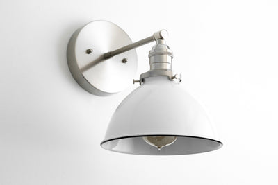 Satin Nickel Sconce - Industrial Sconce - White Wall Light - White Nickel Light - Modern Sconce - White Bucket Light - Model No. 7026
