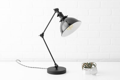Black Shade - Edison Table Lamp - Brass Swing Arm - Brass Table lamp - Brass Desk Lamp - Brass Reading Light - Vintage Lamp - Model No. 9746