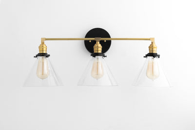 Bathroom Lighting - Three Light Vanity - Mirror Light - Bathroom Fixture - Brass Light - Mirror Light - Vanity Light - Model No. 5219