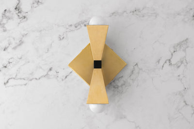Geometric Wall Light - Art Deco Sconce - Brass Wall Light - Light Fixture - Model No. 2046