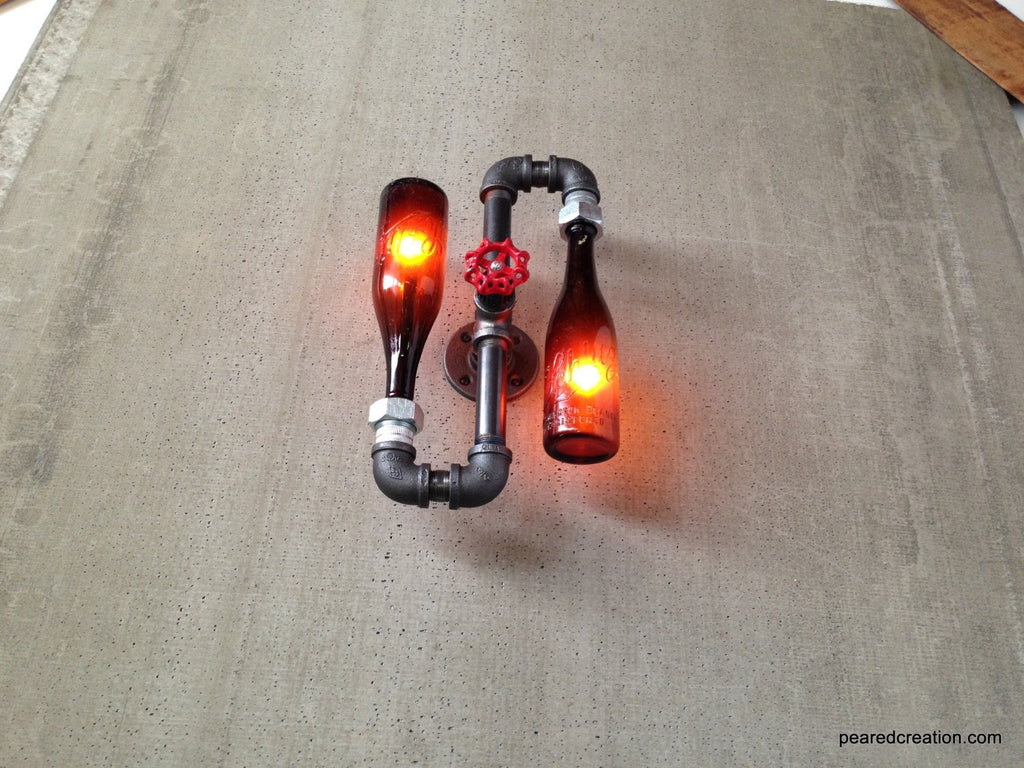 Beer Bottle Sconce - Industrial Lighting - Steampunk Lamps