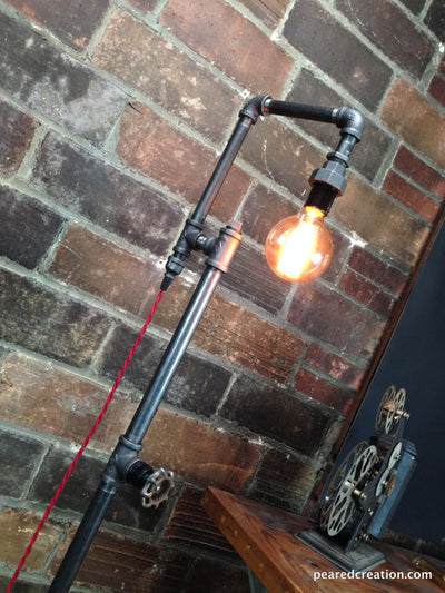 Edison Bulb Floor Lamp - Industrial Style - Bare Bulb Light - Steampunk Lamps