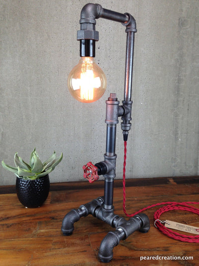 Edison Table Lamp  - Industrial Style - Iron Piping - Rustic Light