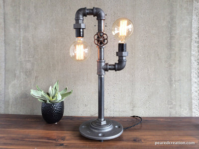 Modern Table Lamp  - Industrial Lighting - Iron Piping - Rustic Light