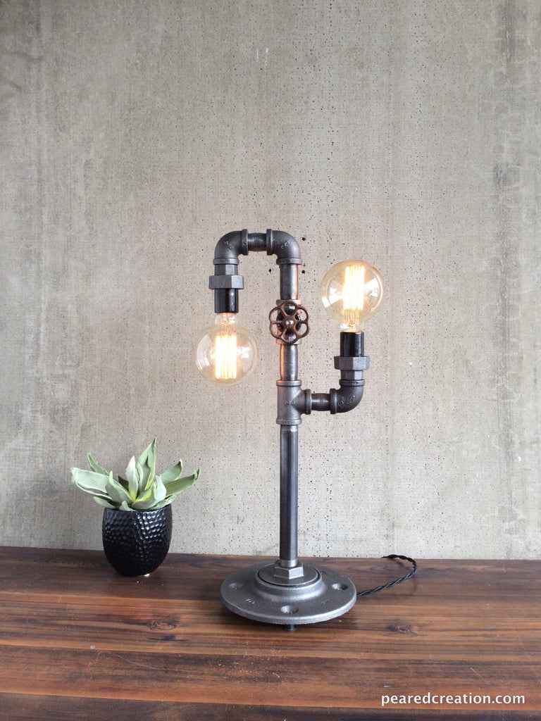 Modern Table Lamp Industrial Lighting Iron Piping