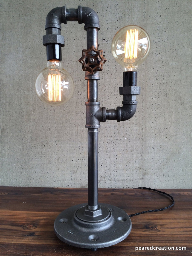 Modern Table Lamp   Industrial Lighting   Iron Piping   Rustic Light