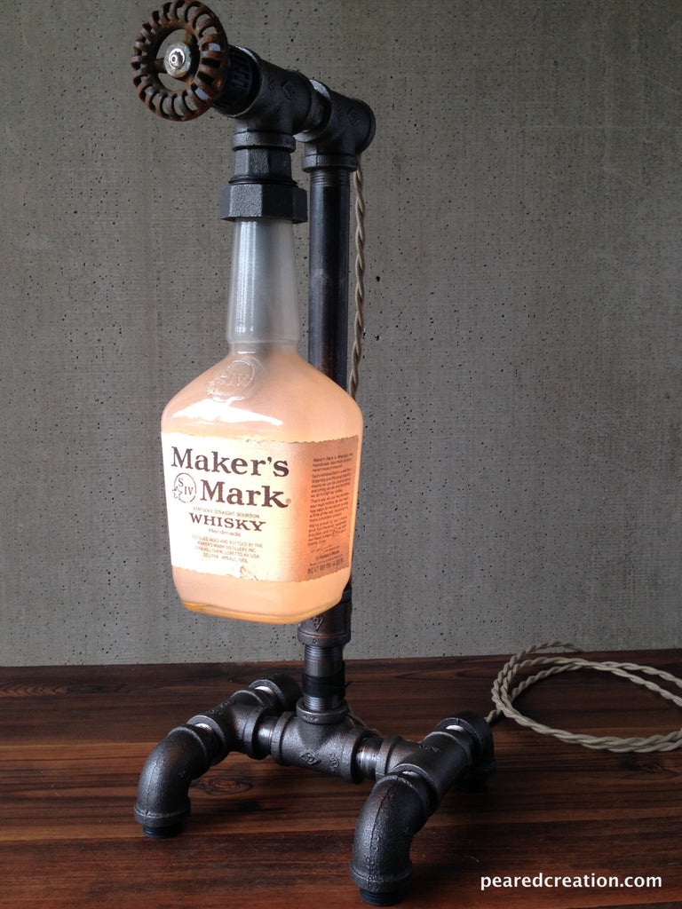 Maker's Mark Lamp - Industrial Lighting - Iron Pipe Lighting - Bourbon Gift