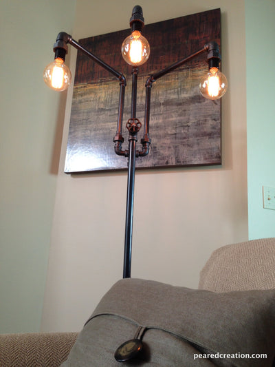 Adjustable Floor Lamp - Industrial Furniture - Multiple Edison Bulbs - Sofa Lamp