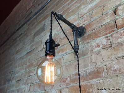 Industrial Wall Sconce - Pendant Edison - Hanging Lamp - Edison Bulb - Wall Light