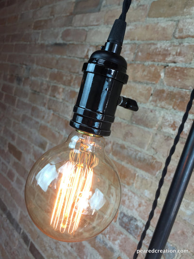 Minimalist Floor Lamp - Industrial Lighting  - Pendant Edison - Steampunk Furniture