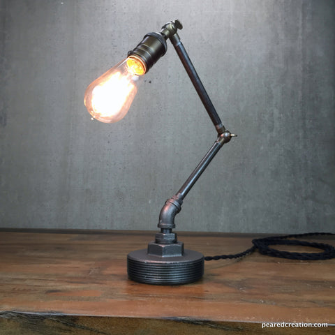 Industrial table lamp articulating light task light office lamp