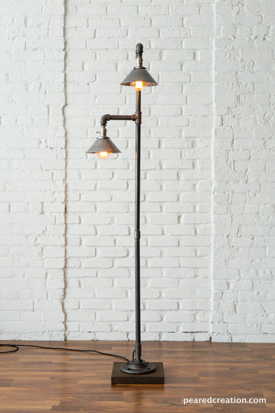 Industrial Floor Lamp - Metal Shade - Edison Bulb Lamp - Industrial Furniture