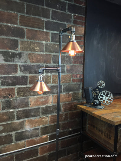 Industrial Floor Lamp - Copper Shade - Edison Bulb Lamp - Industrial Furniture