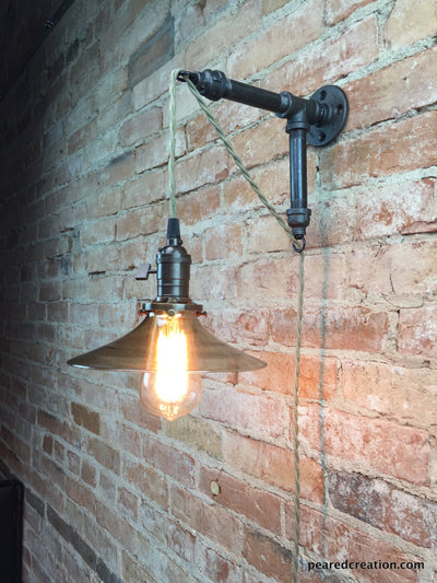 Industrial Wall Sconce - Pendant Edison - Smoked Glass Shade - Edison Bulb - Wall Light