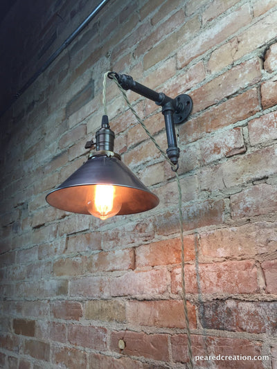 Industrial Style Sconce - Pendant Lamp - Metal Shade - Edison Bulb - Wall Light