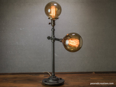 Mid Century Modern Lamp - Table Lamp - Edison Table Lamp  - Industrial Lighting - Iron Pipe - Edison Bulb - Atomic Age Furniture