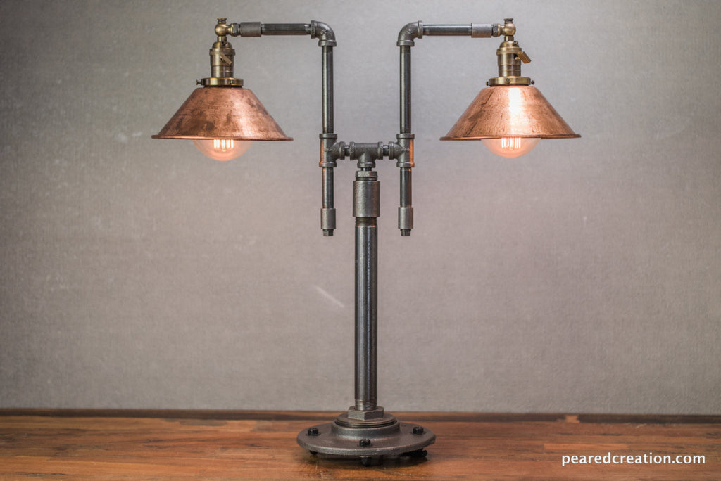 Vintage Table Lamp - Industrial Style - Iron Piping - Copper Shade -  Steampunk Furniture - - Industrial Table Lamp - Edison Bulb Lamp - Table Lamp - Industrial