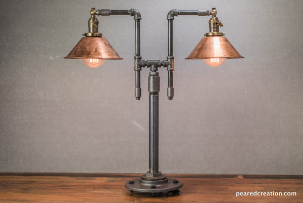 Vintage Table Lamp Industrial Style Iron Piping