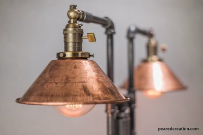 Vintage Table Lamp - Industrial Style - Iron Piping - Copper Shade - Steampunk Furniture - Rustic Decor