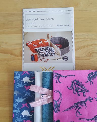 Small Open Out Box Pouch by Aneela Hoey - Project Kit (Stellasaurus Fabric)