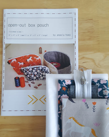 Small Open Out Box Pouch by Aneela Hoey - Project Kit (Stay Gold Fabric)