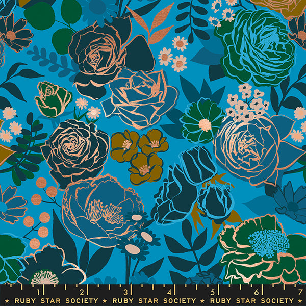 Modern blue floral fabric with copper metallic detail