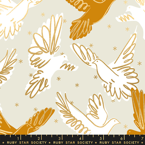 Modern Quilti Fabric with birds on grey background with metallic highlight