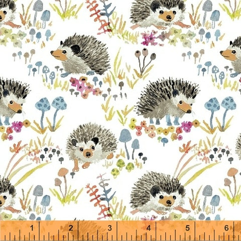 Windham Fabrics - Enchanted Forest - White Happy Hedgehogs
