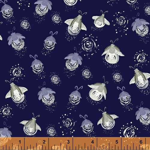Windham Fabrics - Night Hike by Heather Givans - Midnight Metallic Fireflies