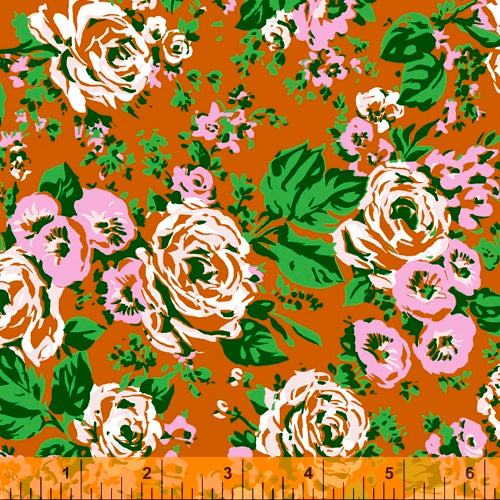 Posy from Annabel Wrigley - Bright Big Roses Rust - NEW