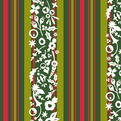 Alison Glass Holiday - Stripe Mistletoe