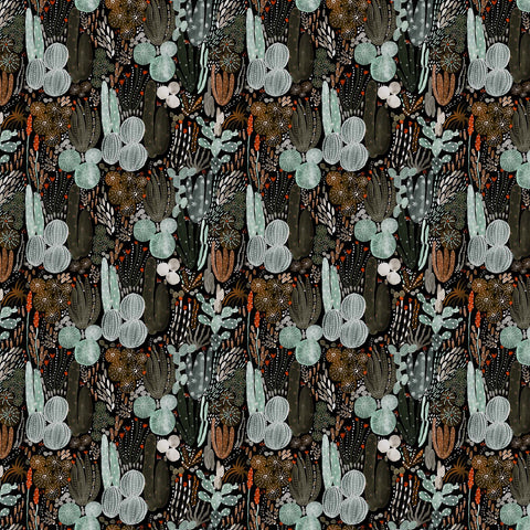 Figo Fabrics - Desert Wilderness - Cactus in Black Multi