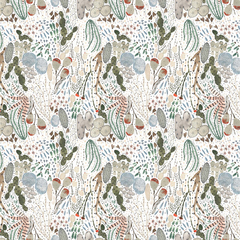 Figo Fabrics - Desert Wilderness - Desert Plants in White Multi
