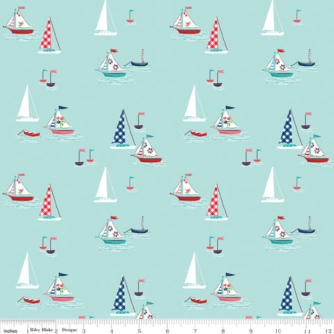 Tasha Noel - Seaside - Riley Blake - Seaside Boats Aqua