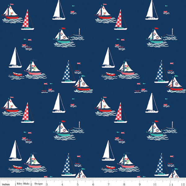 Tasha Noel - Seaside - Riley Blake - Seaside Boats Navy